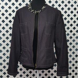 NWT Bandolino Black Denim Zippered Blazer 14